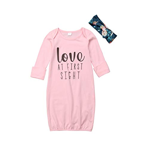 - Infant Baby Girls Gowns Love at First Sight Print Sleepwear Nightgowns Mitten Cuffs Sleeper Gowns with Headband (18-24M, Pink)