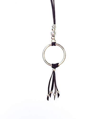 BALOOLA Black Leather Cord Ring Tassel Pendant Necklace Adjustable Handmade Boho Fashion for Women and Girl