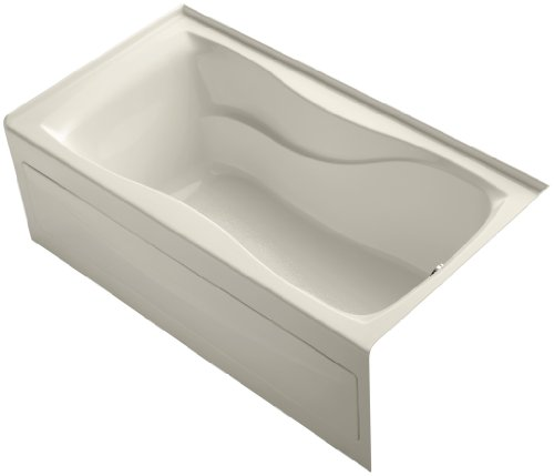 KOHLER K-1219-RA-47 Hourglass 60-Inch X 32-Inch Alcove Bath with Integral Apron, Tile Flange and Left-Hand Drain, Almond ()