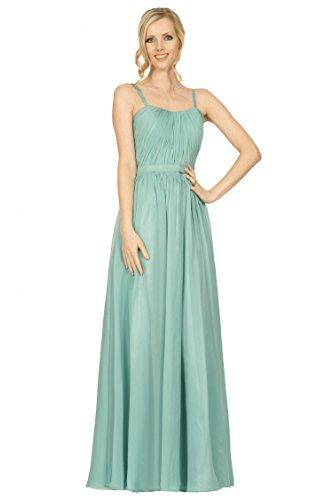 SEXYHER correas espaguetis acanalar estilo de las damas de honor palabra de longitud vestido de noche formal -EDJ1743 LightSageGreen-3DC31