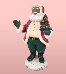 African American Christmas Santa Holding Tree (Santa Holding Christmas Tree)