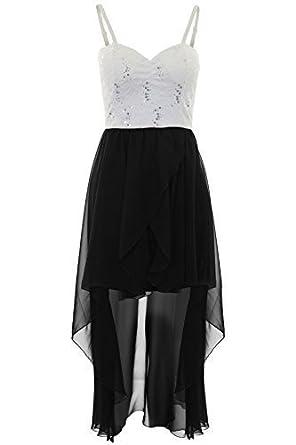 28c0e296de0e Ladies Strappy Padded Chiffon Lined Sequin Lace Dipped Hem Fishtail Maxi  Dress [Ivory/Black