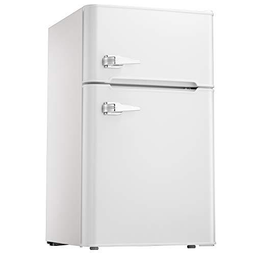 Tavata 3.2 Cu Compact Refrigerator Double Door Mini Fridge with Top Door Freezer,Small Drink Chiller for Home, Office,Dorm or RV (White)