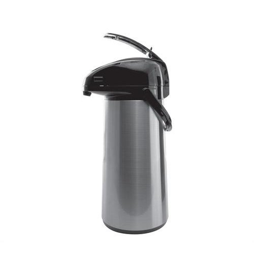 Service Ideas AELS228 Airpot with Lever, Glass Lined, 2.2 L, Brushed with Black Accents by Service Ideas