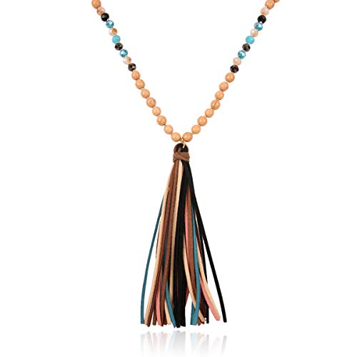 (RIAH FASHION Bohemian Pendant Beaded Long Statement Necklace - Sparkly Crystal Bead Boho Teardrop, Natural Stone, Tassel Charm Wrap Lariat (Natural Stone & Multi Tassel - Brown) )