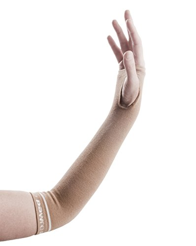 DJMed Arm Skin Protectors – Protective Arm Sleeves, for Sensitive Skin, Help Protect from Tears & Bruising – Pair, Tan (Medium) (Sleeve Forearm Protective)