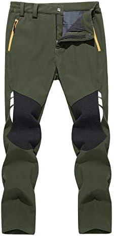 TACVASEN Men's Hiking Fleece Lined Ski Pants Water Resistant Reinforced Knees Winter Pants