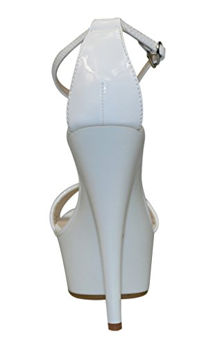 Heel Women's Toe Open Strap Ankle Patent PU High White Platform Sandals HqHYUw