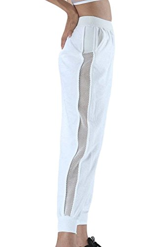 Mesh Pantaloni Bianca marca Tuta Sottile Trousers Estivi Moda Accogliente Pantaloni Sportivi Eleganti Lunga Grazioso Mode Pantaloni Monocromo Pantaloni Alta Anteriori Donna Vita Tasche Cucitura di nYwTSSqf