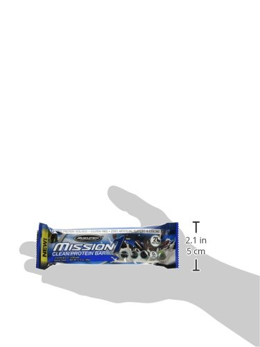 MuscleTech Mission1 Clean Protein Bars, Ultimate Baked Protein Bar, High Protein, Low Fat, Cookies and Cream, 2.12 Ounce (Pack of 12 - 1.59 Pounds)