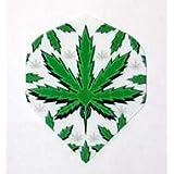 1 Set of 3 Dart Flights - M307 - White Green Pot Leaf Marijuana Cannabis Poly Super Metronic Standard Flights