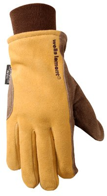 Wells Lamont 1195L Work Gloves with Brown Palm, Saddletan Back, Split Cowhide with Knit Wrist, G100 Thinsulate