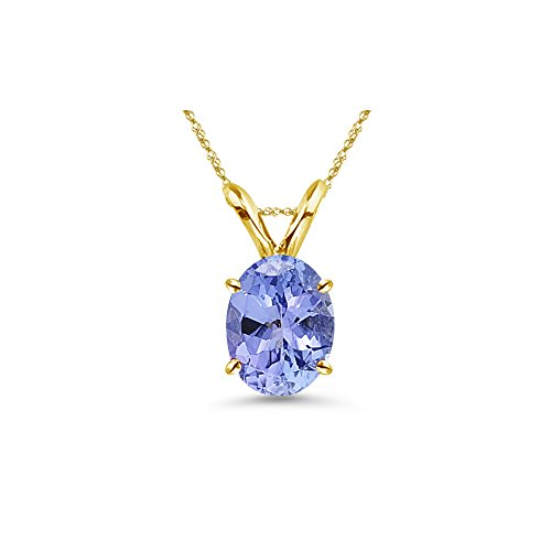 0.21-0.29 Cts of 5x3 mm AA Oval Tanzanite Solitaire Pendant in 18K Yellow Gold - Valentine's Day Sale