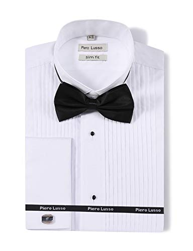 Piero Lusso Men's Wingtip Collar Tuxedo Dress Shirt with French Cuffs and Bow Tie White (Micheal Shirts Mens Kors)