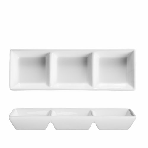 Fortessa Fortaluxe Vitrified China Dinnerware, Rectangular 3-Compartment Dipping Tray, 7.25-Inch, Set of 6