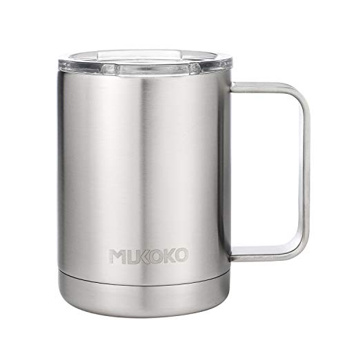Coffee Mug 16oz Vacuum Insulated Camping Mug with Lid, Double Wall Stainless Steel Travel Mug Coffee Cup Outdoor(14oz After Lid is Closed) Sliver