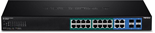 Trendnet 16-Port Gigabit Web Smart PoE+ Switch, 16 x Gigabit PoE+ Ports, 4 x Shared Gigabit Ports (RJ-45 or SFP), VLAN, QoS, LACP, IPv6 Support,185 W Power Budget, TPE-1620WS by TRENDnet (Image #1)