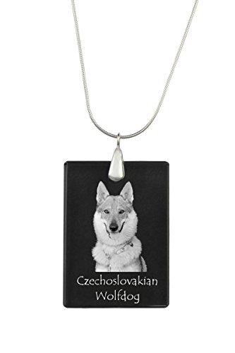 (Czechoslovakian Wolfdog, Dog Crystal Pendant, Silver Necklace 925,)