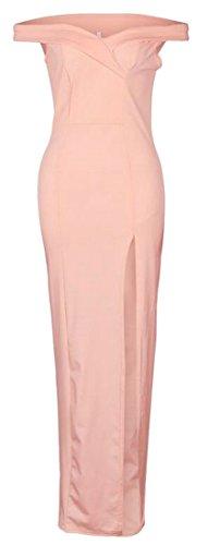 Pencil Slim Party Womens Dress Off Pink Slit Shoulder Sweetheart Cruiize Maxi nHOZw5q05