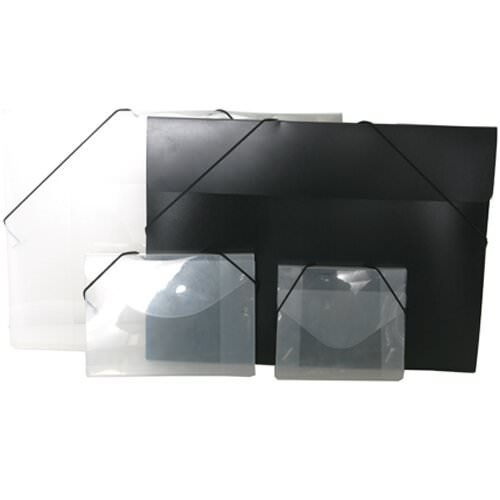 JAM Paper Plastic Portfolio with Elastic Closure - Large - 11'' x 15'' x 1/2'' - Black - Sold Individually