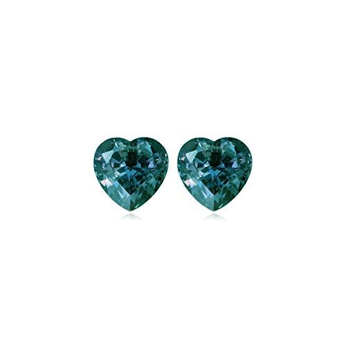 (4.55-4.80 Cts of 8 mm AAA Heart Lab created Russian alexandrite ( 2 pcs ) Loose Gemstones)