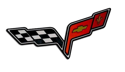 amazon com medium crossed flag wing fender real aluminum auto rh amazon com  corvette c6 logo what does it mean