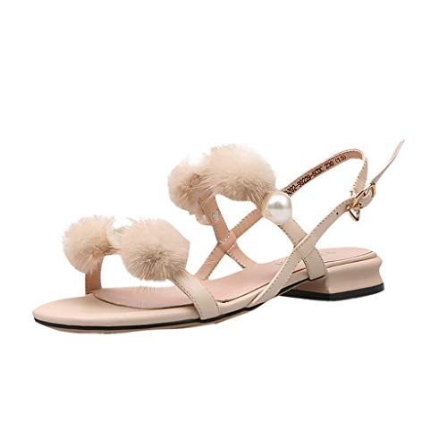 Women Sandals, LIM&Shop  Summer Pearl Slippers Casual Flat Leather Fur Sling Back Thong Shoes Soft Sole Flip Flops Beige