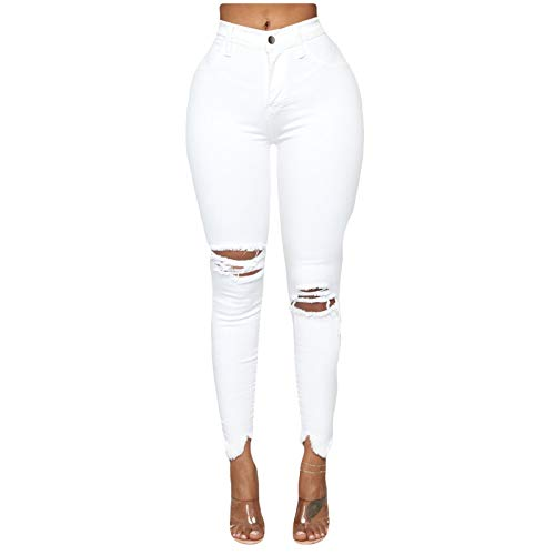 Women Slim Plus Size Ripped Hole Solid Color Long Jeans Denim Pants, Sexy and Charming – US in Stock White