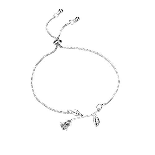 CCOOfhhc Bracelets for Women Girls Roman Style Crystal Rhinestone Roseflower Plated Bangles Bracelet Jewelry Adjustable ()