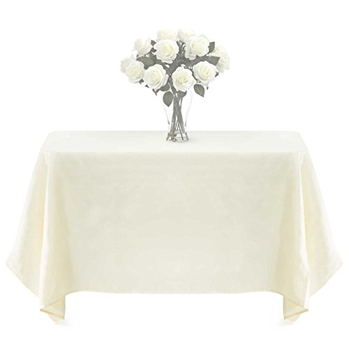 Lann's Linens - PREMIUM WEIGHT Polyester Tablecloth - for Wedding, Restaurant or Banquet use - 90 in. x 156 in. , Ivory