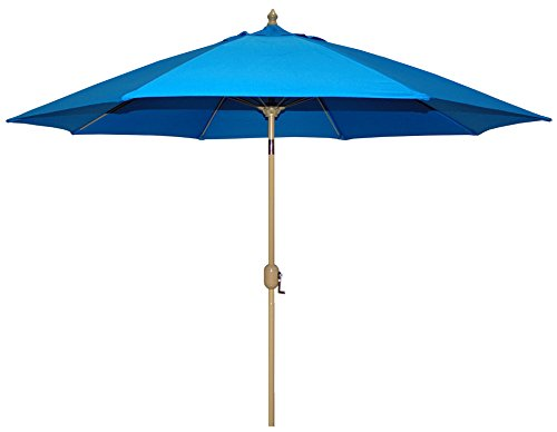 Tropishade Auto Tilt 9 ft Aluminum Umbrella 8 Ribs with Royal Blue Poly Cover