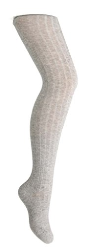 Zubii Girls Tights — Ribbed Footed Tights for Girls — Cotton Hosiery — Light Gray — 2
