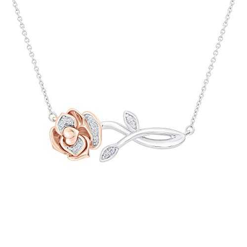 Enchanted Disney Belle's Rose Diamond Necklace 1/20ctw