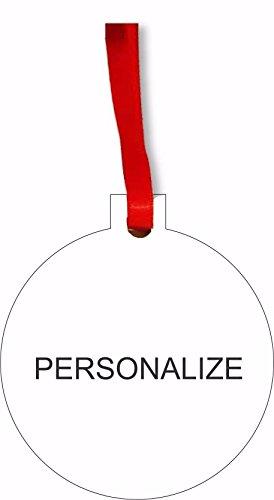 Customizable Round Flat Hardboard Holiday Tree Ornament