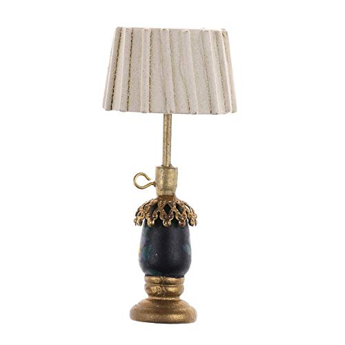 Dollhouse escritorio de madera miniatura de luz de la lampara de mesa dormitorios bricolaje decoracion adicional
