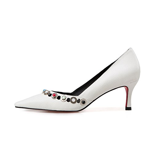 Handmade Pointed Trendy Toe Pumps White Stiletto Shoes Women's Dressy Nine Genuine Elegant Leather Seven Heel zqAwpS