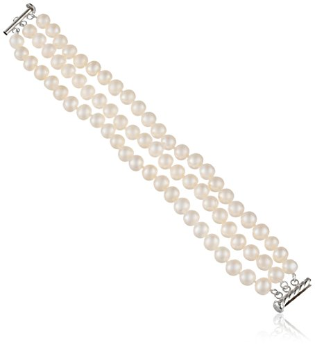 Sterling Silver 3-Row White Freshwater Cultured A Quality Pearl Bracelet (7.5-8mm), 7.25