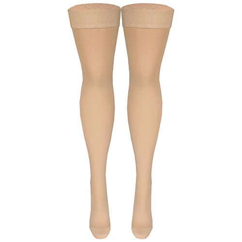 Nuvein Medical Compression Stockings, 20-30 mmHg Support, Women & Men Thigh Length Hose, Closed Toe, Beige, Large