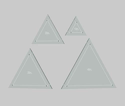 "Triangle Quilting Template Set, 4"", 3"", 2"", 1"" with 1/4"" Seam Allowance"