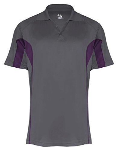 Badger Men's Moisture Drive Performance Polo Shirt, Large, Graphite/Purple ()