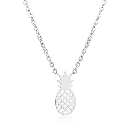 Rosa Vila Pineapple Necklace, Tiny Pineapple Jewelry for Women, Symbolizes Friendship and Generosity, Pineapple Things for Girls, Tropical Jewelry Gift, Pineapple Gifts for Women (Silver Tone)