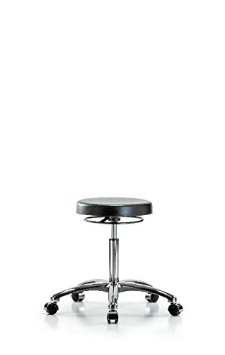 LabTech Seating LT40772 Class 10 Clean Room Polyurethane Medium Bench Stool Chrome Base, Chrome Casters