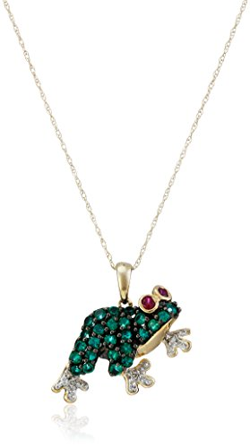 10k Yellow Gold Created Emerald and  Created Ruby Frog with Diamond-Accent Pendant Necklace, (Diamond Frog Pendant)