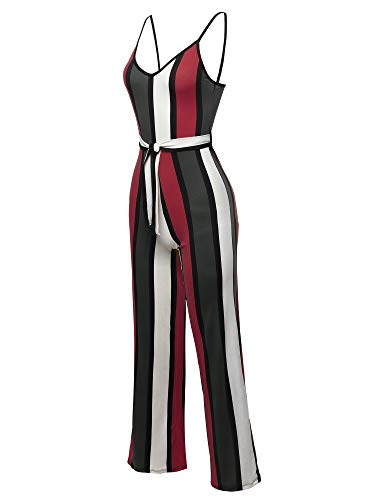 Awesome21 Pinstripe Sleeveless Strap Self Tied Waistband Jumpsuit Wine Olive Size L