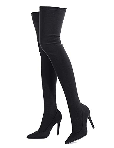 Peatutoori Women Over The Knee Boots Poninted Toe Thigh High Bootie Stretch Socks Boots for Ladies Heeled Black