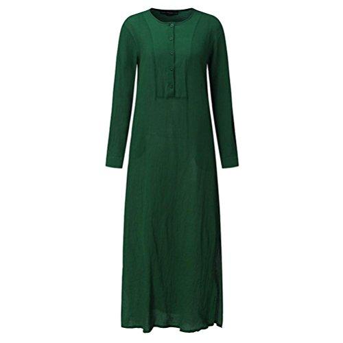 Abito donna con da Verde eleganti lunga scollo in a manica donna vestiti V lino di sciolto vestiti cotone abbottonato casual rYwUr8qR