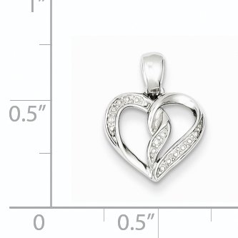 Color H-I, Clarity SI2-I1 Sterling Silver Rhodium Plated Diamond Heart Pendant