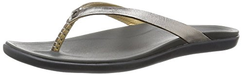 (OluKai Ho'opio Leather Sandal - Women's Silver/Charcoal 6)