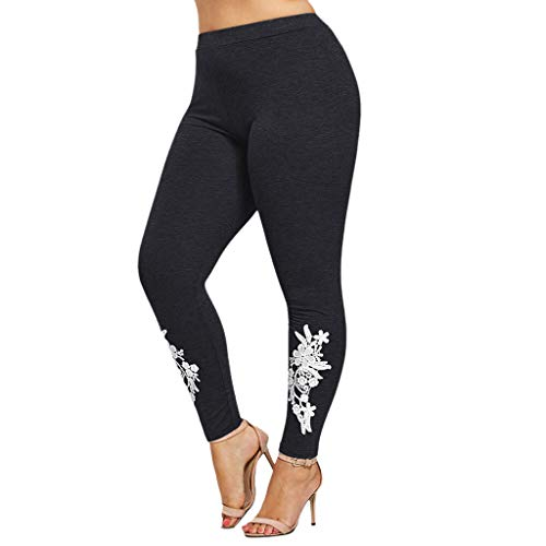 iHPH7 High Waist Control Leggings Fashion Women Plus Size Solid Appliqued Leggings Casual Sport Yoga Pants (XL,Dark Gray)