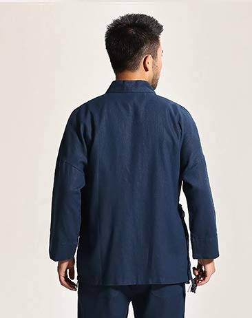 Acvip para hombre tradicional de Chaqueta larga azul manga ffZqpBF
